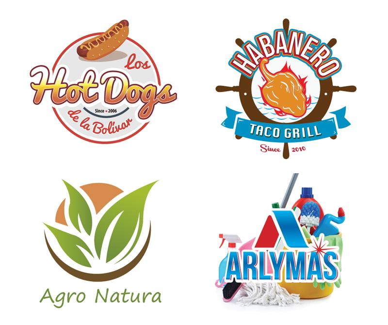 Diseño de logotipos para restaurantes y servicios de limpieza