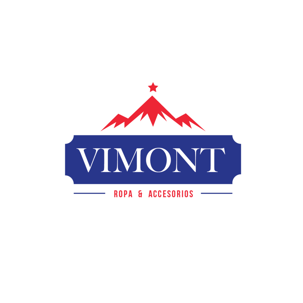 Logo estilo vintage, tipo marquesina  con elementos como montaña y estrella en rojo.