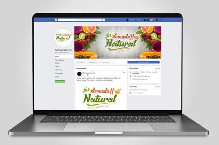 Diseño de cover e imagen de perfil para facebook con frutas y colores najaranja verdes