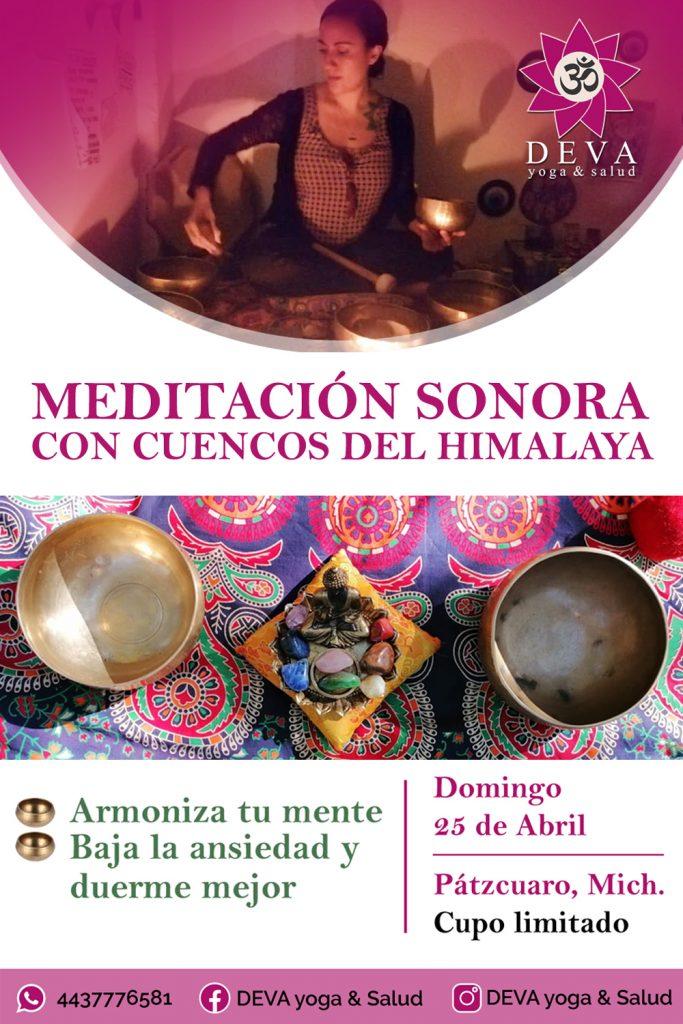 Diseño de volante o flyer para promocionar la Meditación Sonora de Cuencos del Himalaya en la ciudad de Pátzcuaro Michoacán.